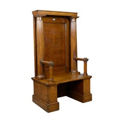 Large Antique Oak Throne Chair, Edwardian, Bench, Seat, Classical, Doric
