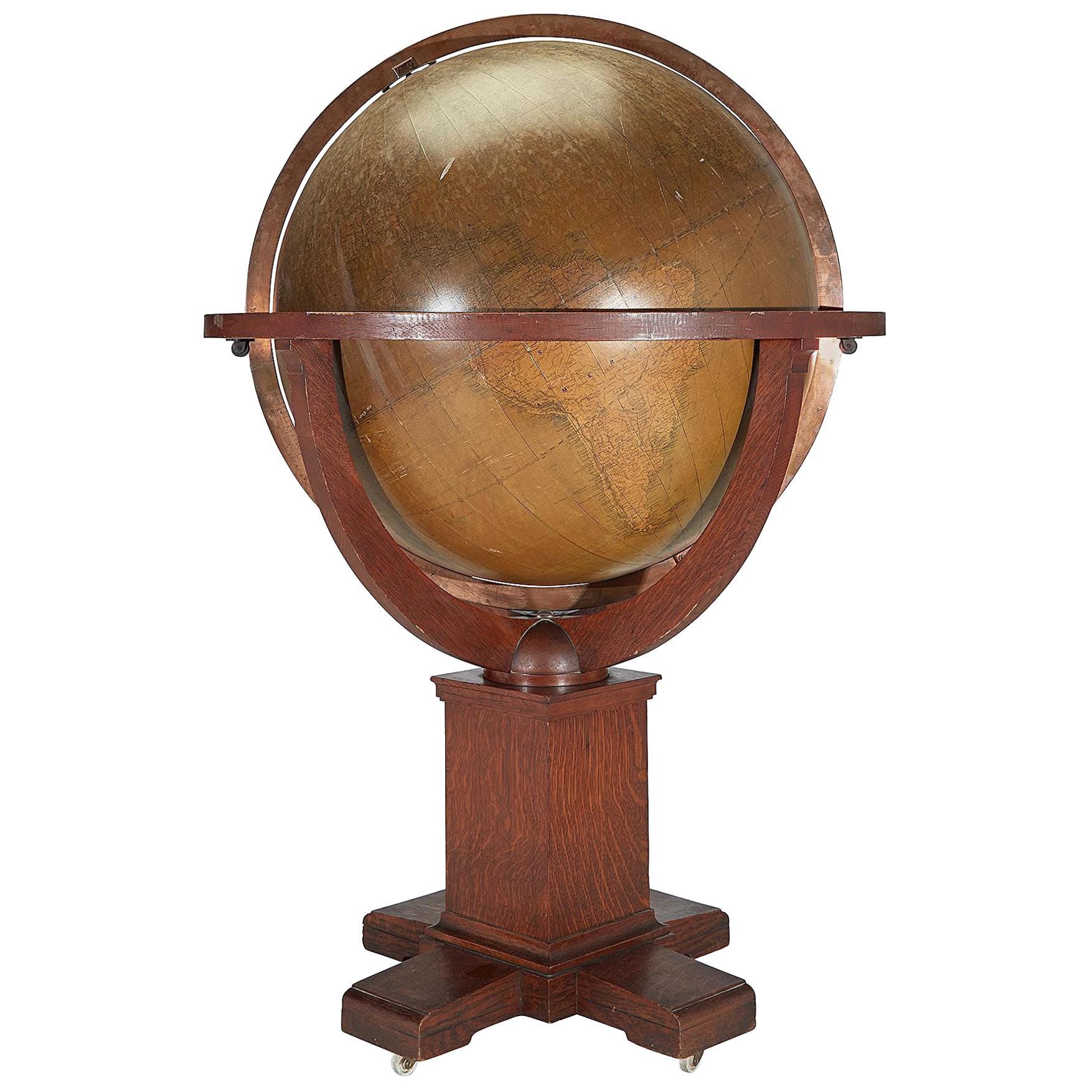 Very Large Antique Oak W. & A. K. Johnston 30-inch Terrestrial Library Globe