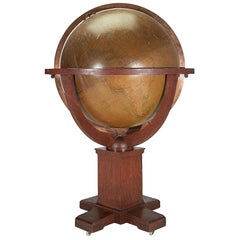 Very Large Antique Oak W. & A. K. Johnston 30-inch Terrestrial Library Globe