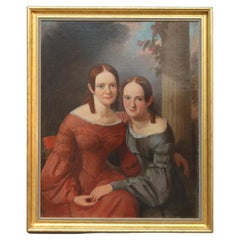 Large Antique Oil on Canvas Portrait Painting, Two Young Ladies, Sisters, c1850