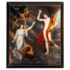 Large Antique Oil Painting, Orpheus and Eurydice, Early 20th Century