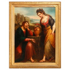 Large Antique Old Master Painting of Christ and Samaritan Woman at the Well