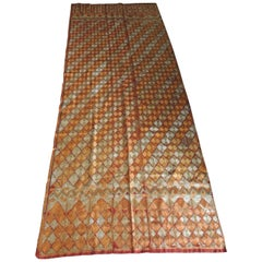 "Large Antique Orange and Yellow ""Phulkari"" Embroidery Textile"