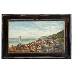Large Antique Original Oil on Canvas Painting of Sailboat Seascape Along Rocky S