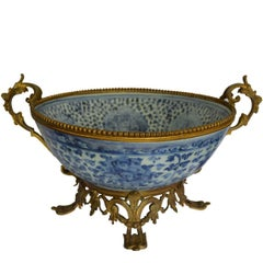 Large Antique Ormolu Mounted Chinese Ming Dynasty Porcelain Bowl