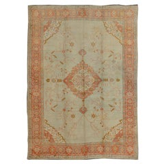 Large Antique Oushak Rug in Taupe / Light Green Background and Coral Border