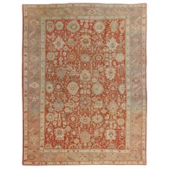 Large Antique Oushak Rug with All-Over Floral Design in Orange Red, Taupe, Green