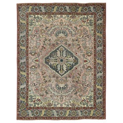 Large Antique Oushak Rug with Floral Design in Pink and Steel Blue
