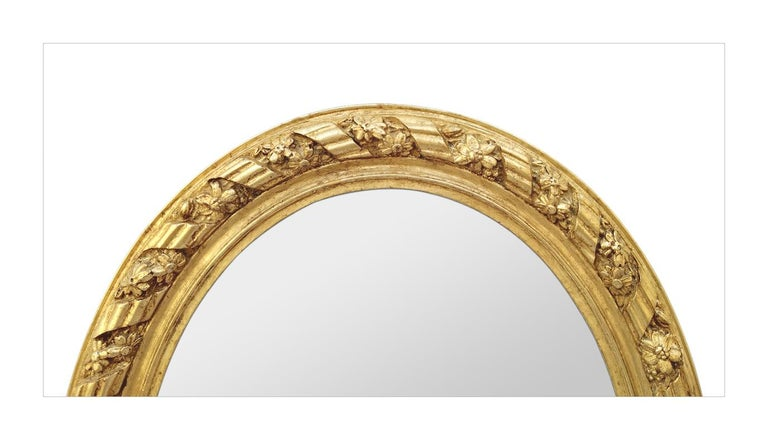 Napoleon III Large Antique Oval French Mirror, circa 1880 For Sale