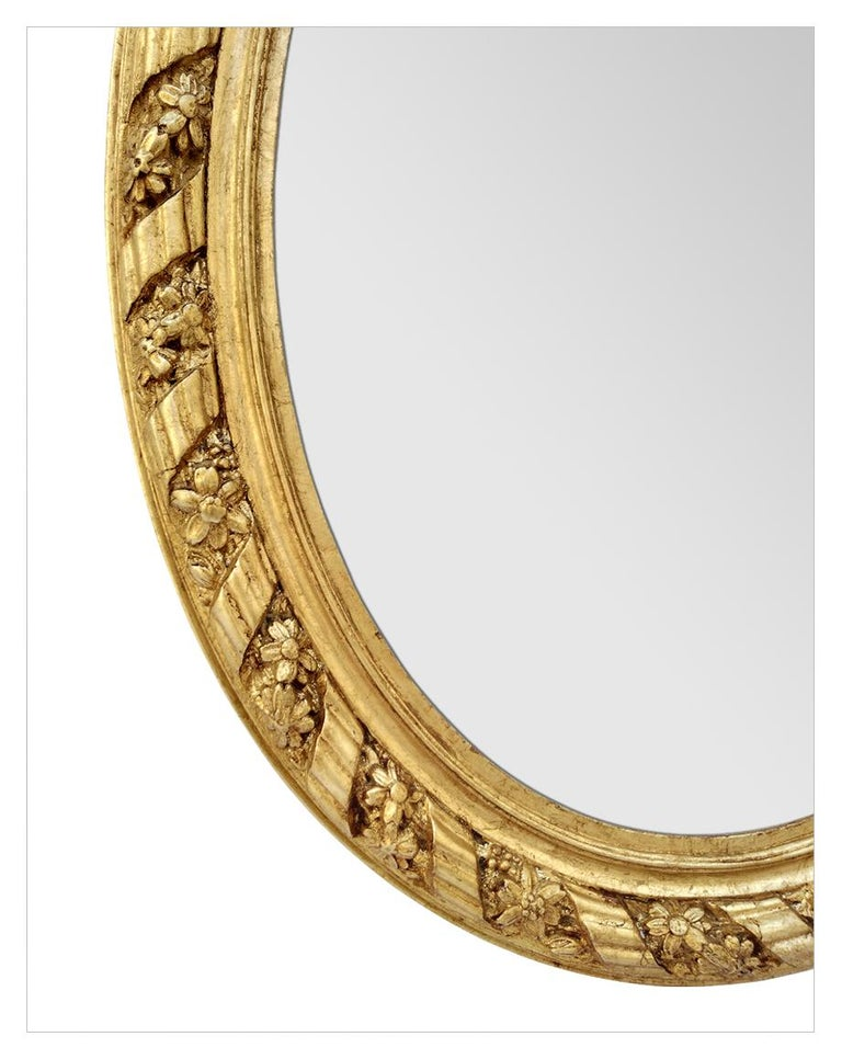 Gilt Large Antique Oval French Mirror, circa 1880 For Sale