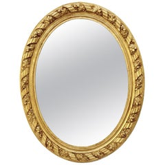 Large Antique Oval French Mirror, circa 1880