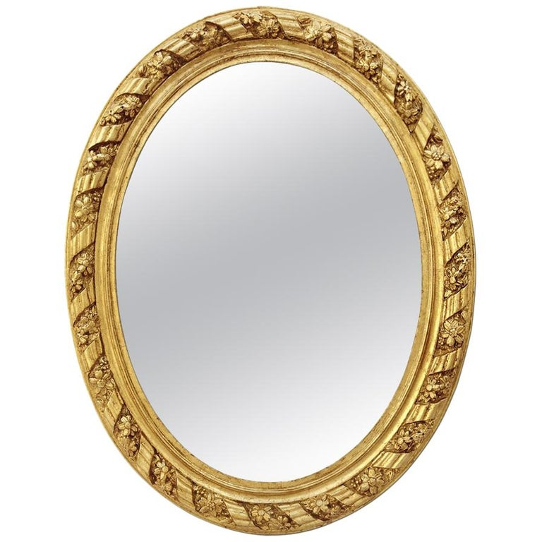 Large Antique Oval French Mirror, circa 1880 For Sale