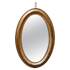 Large Antique Oval Giltwood Wall Mirror, circa 1830