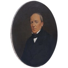 Large Antique Oval Oil on Canvas Portrait Painting of a Gentleman