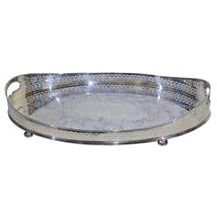 Large Antique Oval Silver Plated Gallery Serving Tray