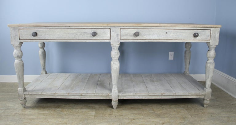 French Large Antique Painted Prep or Draper's Table For Sale
