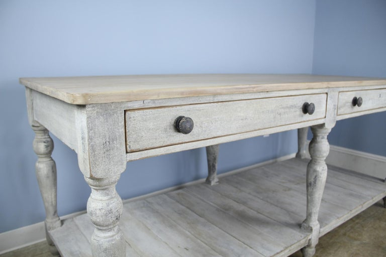 Large Antique Painted Prep or Draper's Table In Good Condition For Sale In Port Chester, NY
