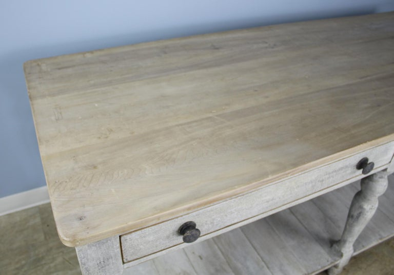 Oak Large Antique Painted Prep or Draper's Table For Sale