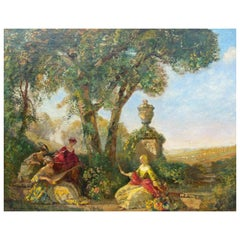 Large Antique Painting Summer Garden Scene by Frederick Ballard Williams