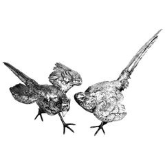 Large Antique Pair Solid Silver Pheasants Model Statue Figures, circa 1890