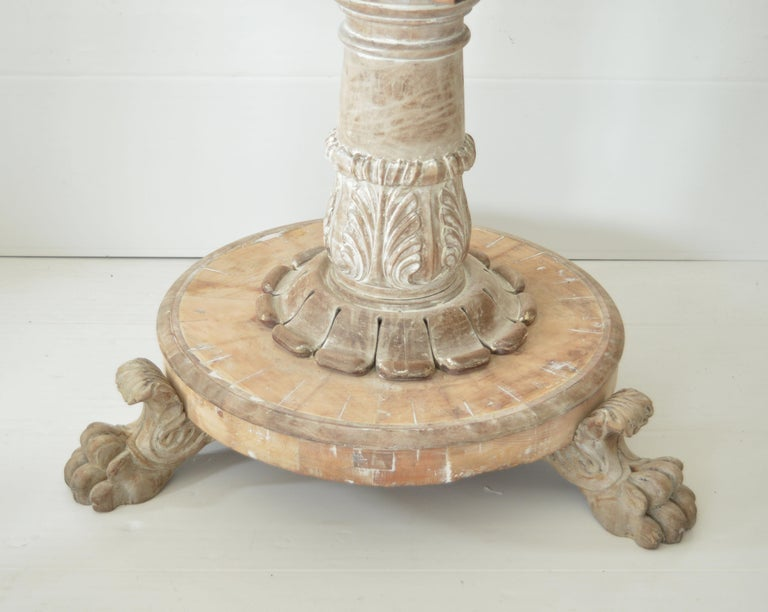 English Large Antique Palladian Style Bleached Mahogany Round Table For Sale