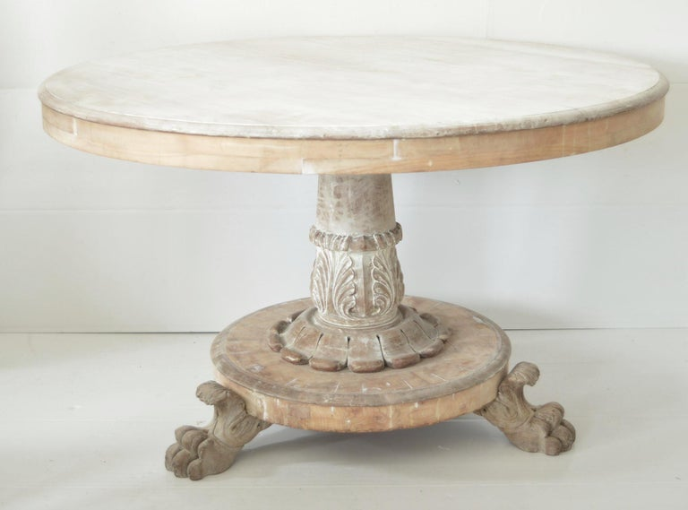 Large Antique Palladian Style Bleached Mahogany Round Table For Sale 1