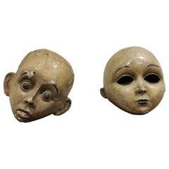 Large Antique Papier Maché Carnival Masks, 1900s