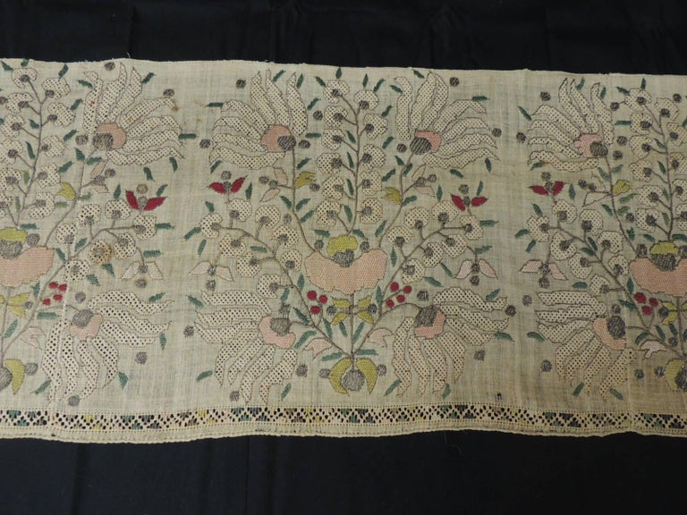 Large Turkish embroidered mesh floral textile. Woven mesh with embroidered flowers and metallic silver threads details. In shades of natural, peach, silver, pink, orange and red. Ideal to frame or make a pillow. Size: 13