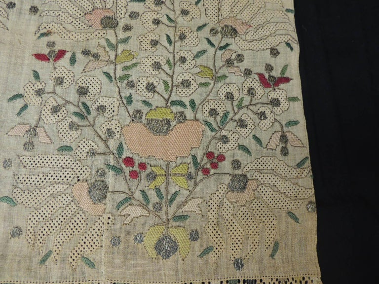 Suzani Large Antique Peach and Yellow Turkish Embroidered Mesh Floral Textile For Sale