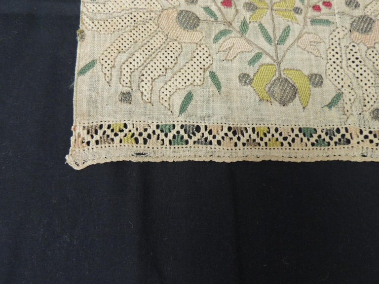 Hand-Crafted Large Antique Peach and Yellow Turkish Embroidered Mesh Floral Textile For Sale