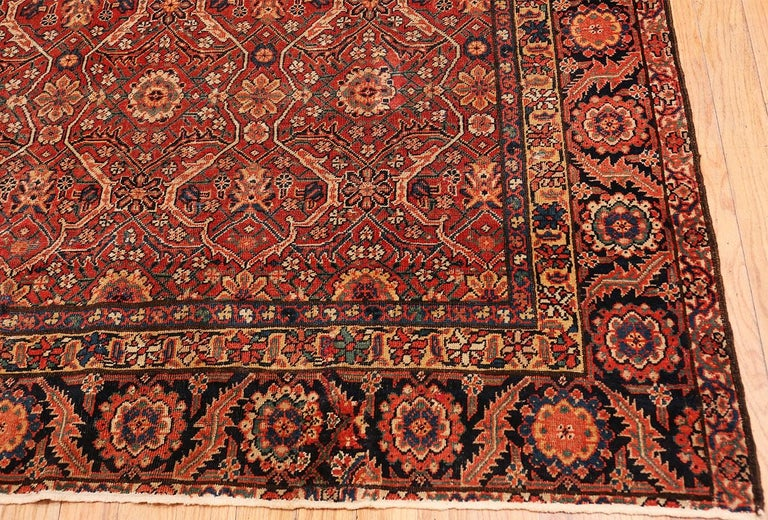 Hand-Knotted Large Antique Persian Farahan Carpet For Sale