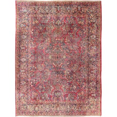 Large Antique Persian Sarouk Carpet with Floral Patterns in Red and Blue