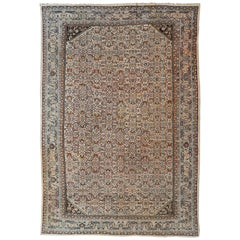 Large Antique Persian Sultanabad Rug in Ivory Background & All-Over Design