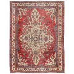 Large Antique Persian Sultanabad Rug with a Unique Medallion Design