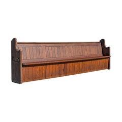 Large Antique Pew, English, Pitch Pine, Bench Seat, 7-8, 19th Century