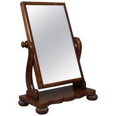 Large Antique Platform Mirror in Mahogany, English, Victorian Vanity, circa 1860