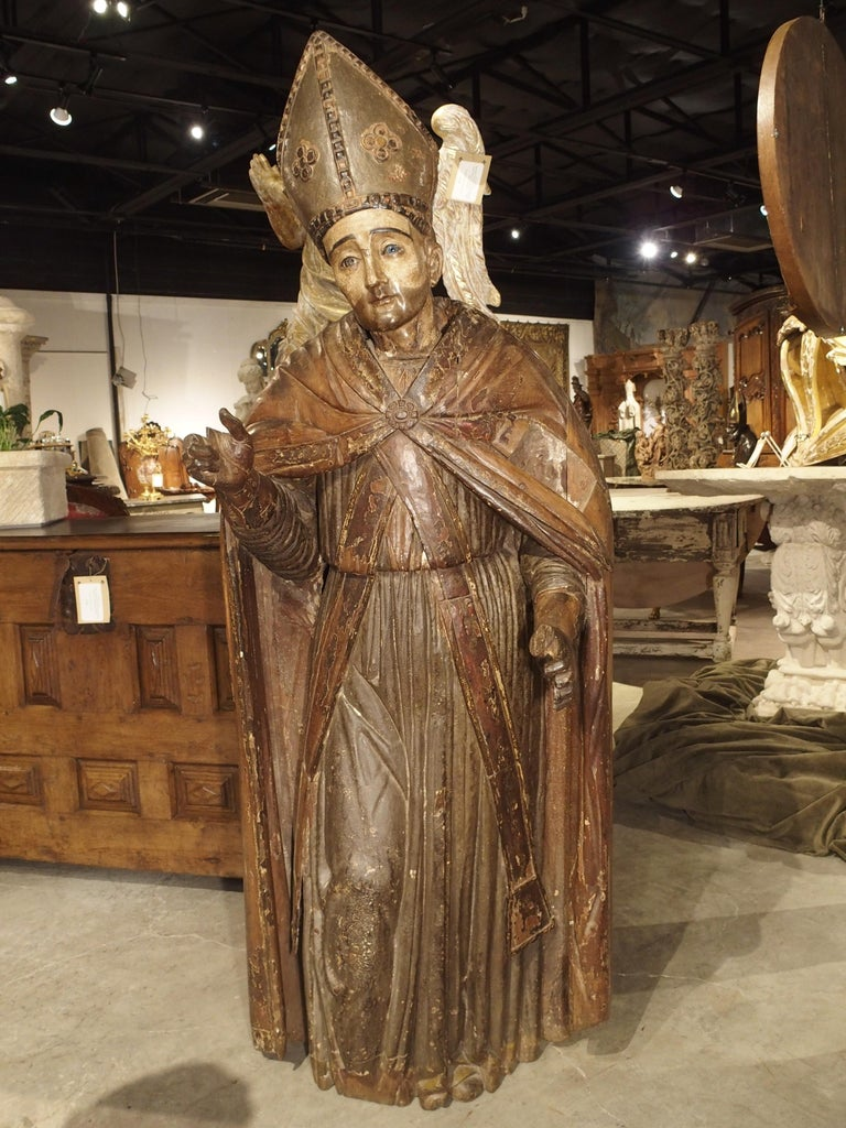Large Antique Polychromed Wood Statue of a Bishop, circa 1650 For Sale 11