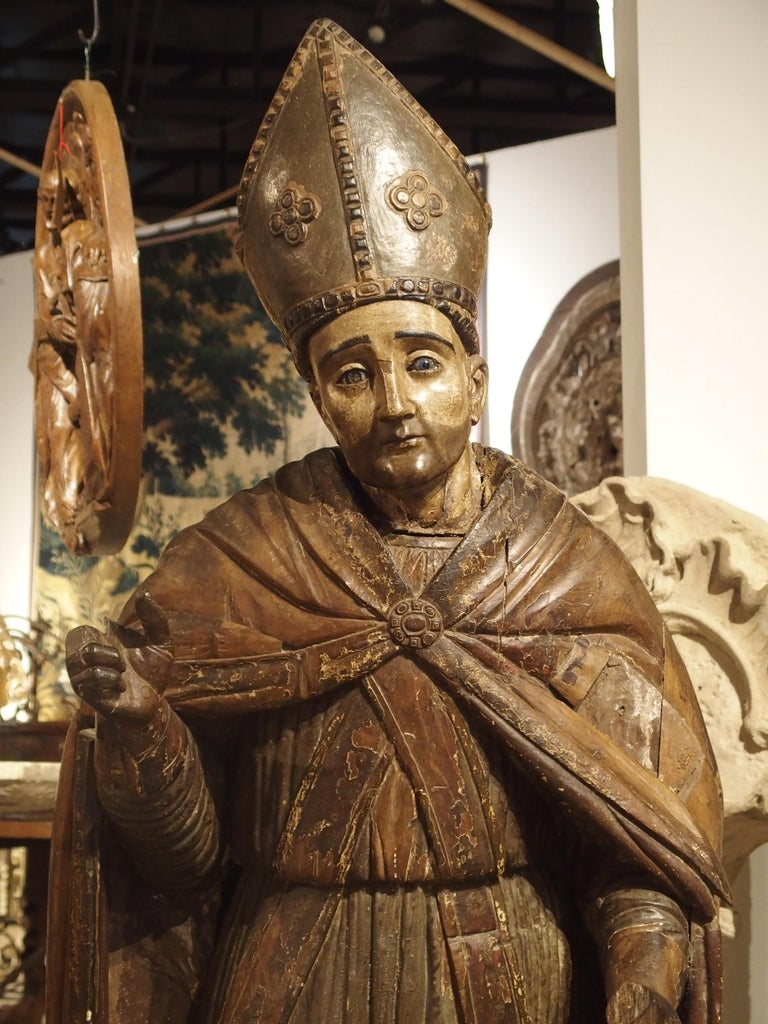 Large Antique Polychromed Wood Statue of a Bishop, circa 1650 In Fair Condition For Sale In Dallas, TX