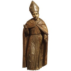 Large Antique Polychromed Wood Statue of a Bishop, circa 1650