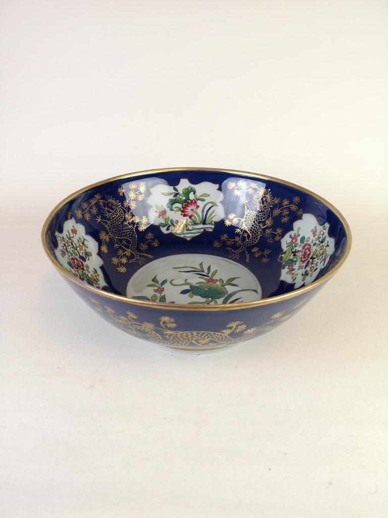 Chinoiserie Large Antique Porcelain Punch Bowl Samson France For Sale