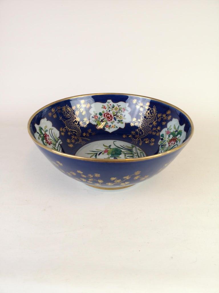French Large Antique Porcelain Punch Bowl Samson France For Sale