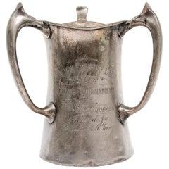 Large Antique Presentation Pewter 1909 Tennis Trophy