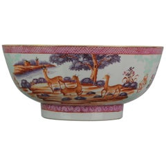 Large Antique Qianlong 18th Century Mandarin Rose Porcelain Bowl Chinese Deer Ox