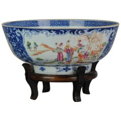 Large Antique Qianlong 18th Century Mandarin Rose Porcelain Bowl Chinese Ladies