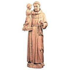 Large Antique Quebec Hand Carved Wooden Sculpture of St. Anthony & Jesus