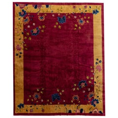 Large Antique Red Chinese Deco Wool Rug