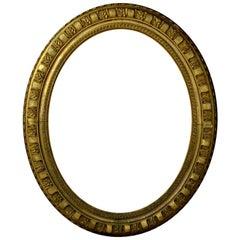 Large Antique Regency Gilt Oval Looking Glass Frame
