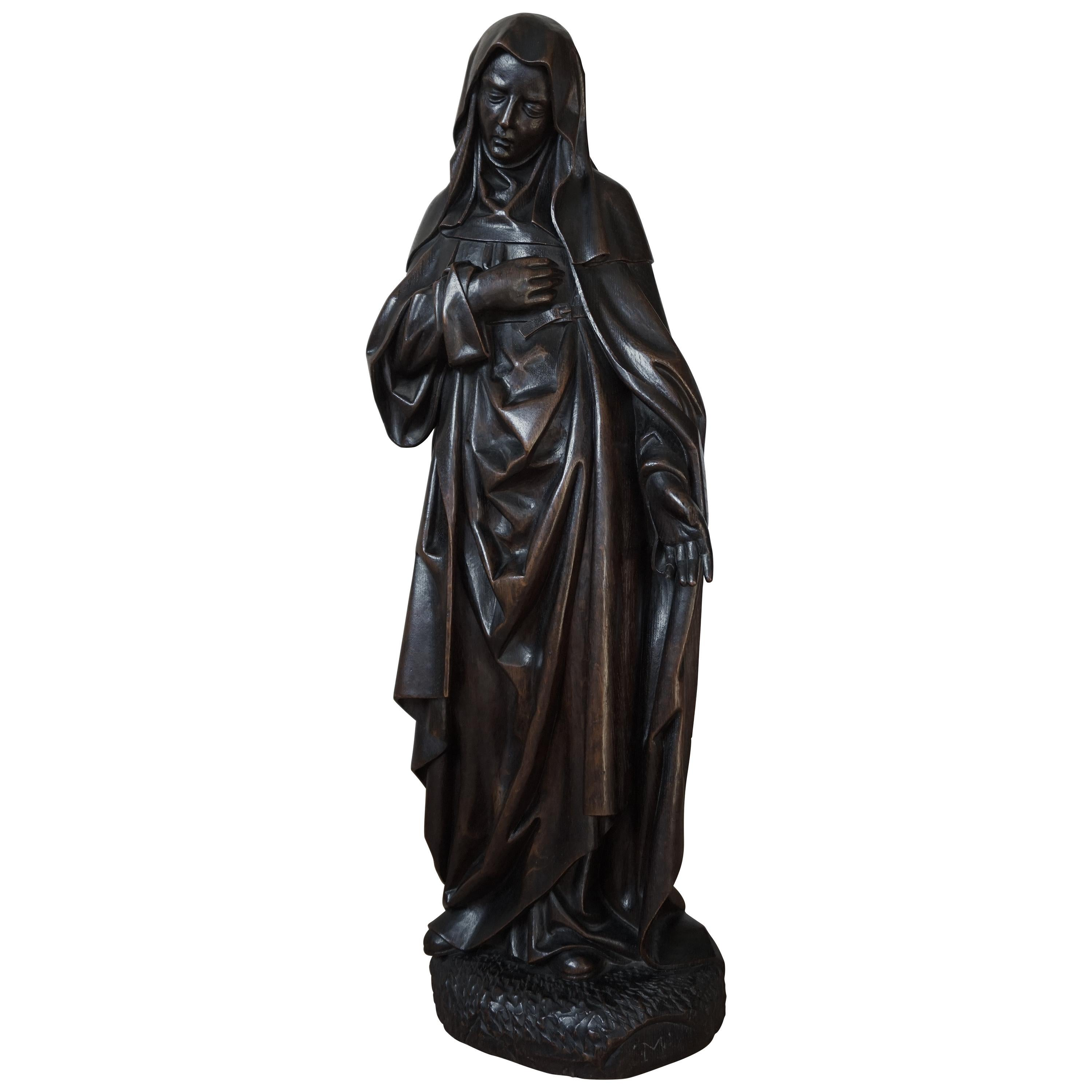 Large Antique & Remarkable Hand Carved Mourning Mary Magdalene Church Sculpture