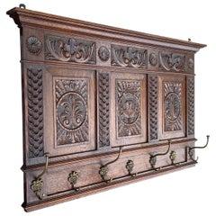 Large Antique Renaissance Revival Quality Oak and Cast Bronze Wall Coat Rack