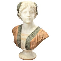 Large Antique Renaissance Styled Hand Carved Marble Female Sculpture or Bust